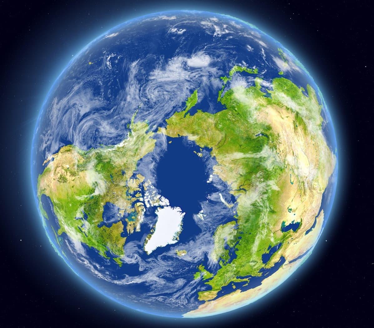 Satelliittikuva maapallosta niin, että pohjoisnapa on keskellä.