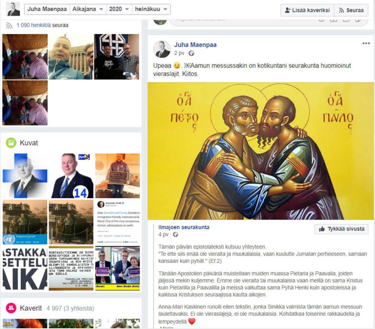 Kuvakaappaus Juha Mäenpään Facebook-sivusta, jossa hän kommentoi Ilmajoen seurakunnan Facebook-päivitystä sanoin: Upeaa. Aamun messussakin on kotikuntani seurakunta huomioinut vieraslajit. Kiitos.