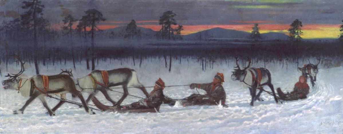 """Maalaus, Kyyhkynen Juho Kustaa, """"Pororaito"""", 1902, Rovaniemen kaupungin kokoelma"""