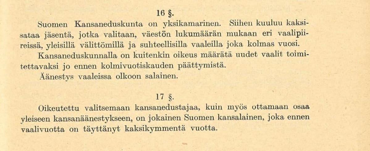 Valtiosääntöehdotus 1918 pykälät 16-17