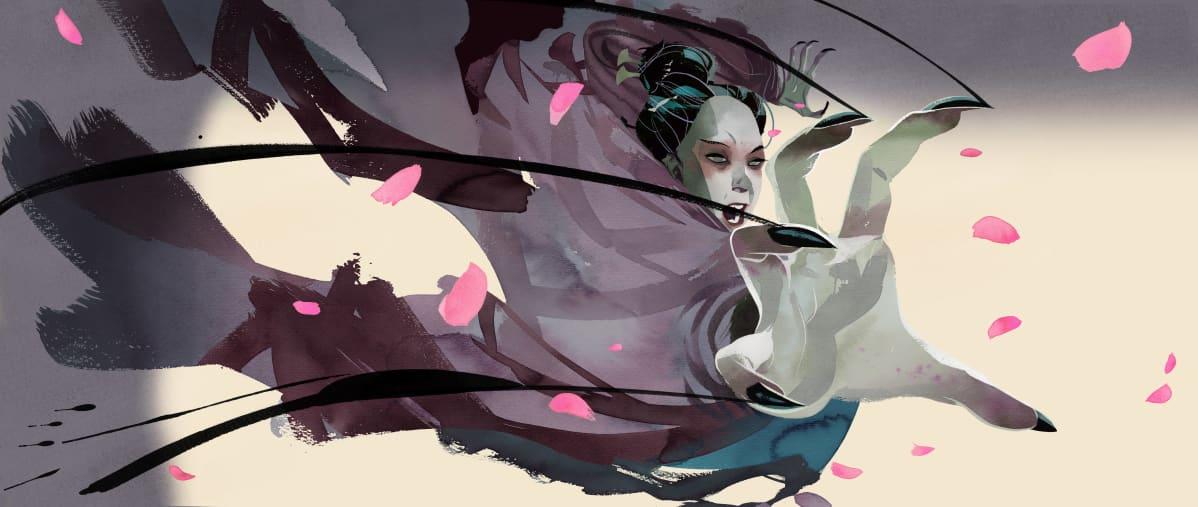 Jussi Kaakisen kuvitus kirjailija Jin Yongin Kotkasoturin taru kirjaan.