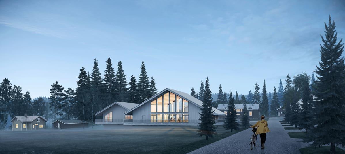 Hyytiälän uudisrakennus havainnekuvassa - Toukokuussa 2021 Juupajoen Hyytiälän tutkimusasemalla alkaa uuden kampuksen rakentaminen.