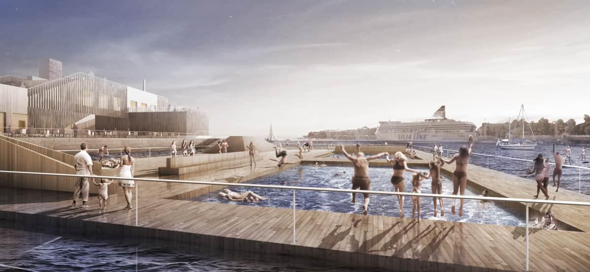 Helsingin keskustan uudessa merikylpylässä uidaan vasta elokuussa.