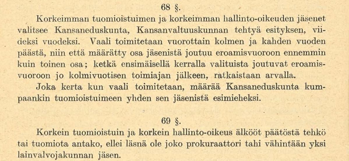 Valtiosääntöehdotus 1918 pykälät 68-69