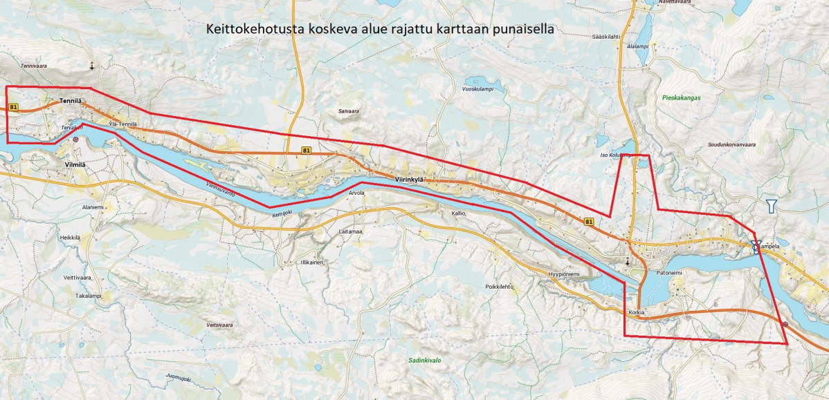 Keittokehotuksen voimassaoloalue kartalla Tennilän, Viirinkylän ja Vanttauskosken ympäristössä.