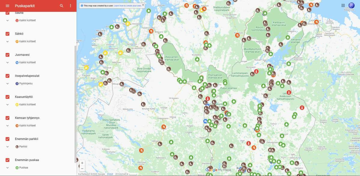 Puskaparkkitoimintaan soveltuvia paikkoja kartalla