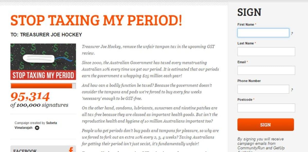 Kuvankaappaus nettivetoomuksesta, jossa vaaditaan kuukautissuojien arvonlisäverosta luopumisesta Australiassa.