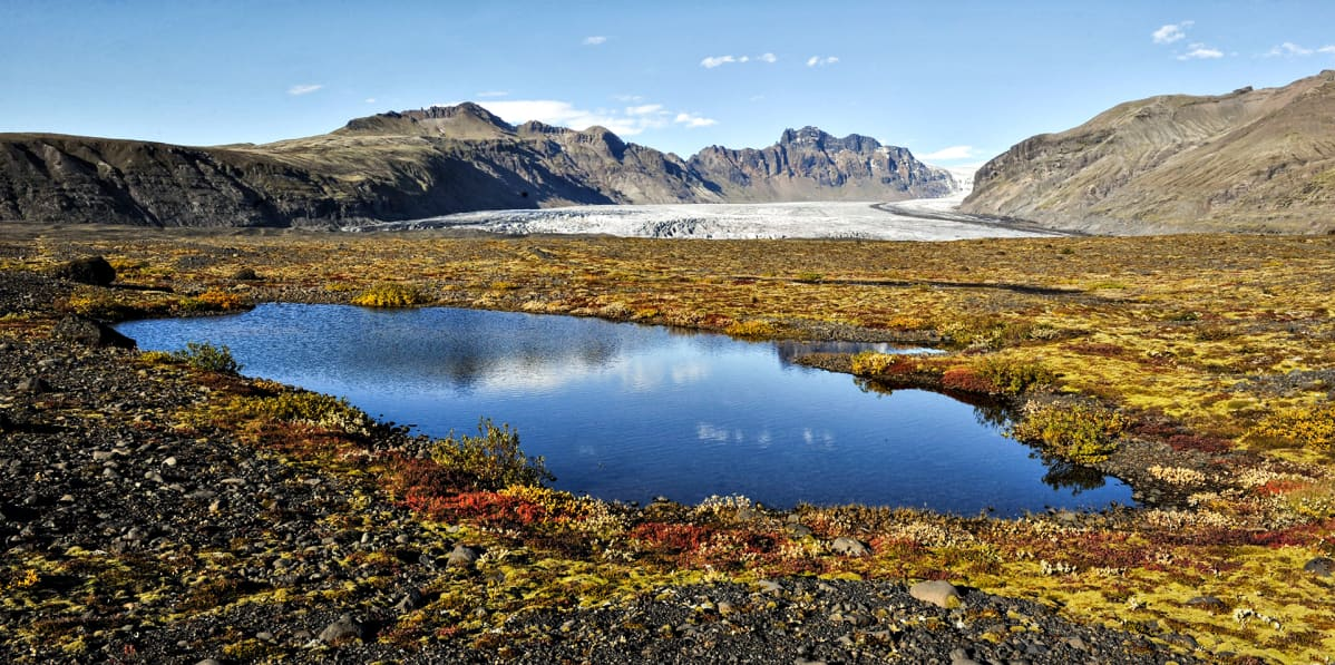 Vatnajökullin kansallispuisto Islannissa. Pienen lammen takana näkyy valkoinen jäätikkö.