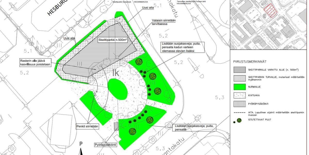 Karttakuva Kemin keskustaan suunnitellusta skeittipuistosta.