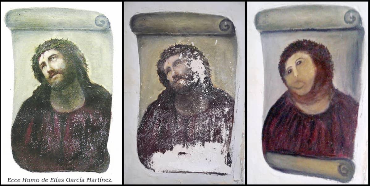Kuvat alkuperäisestä ja tuhotusta freskosta.