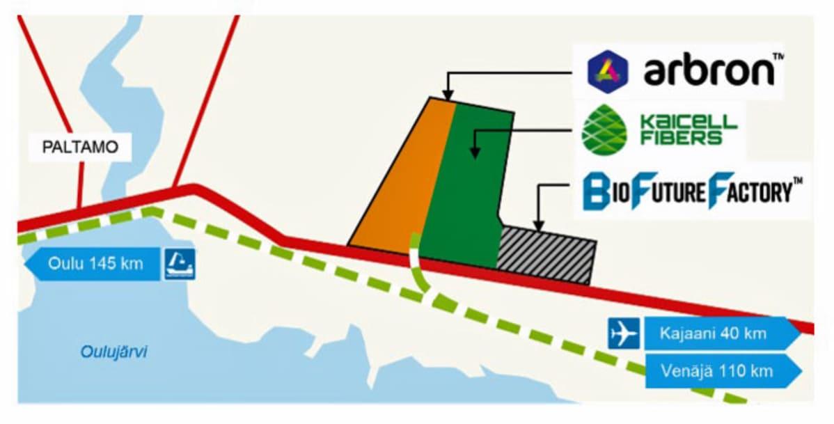 Kartta teollisuusalueesta.