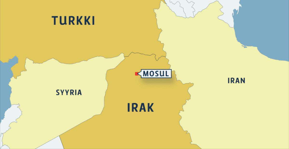 Kartta jossa turkki ja Irak