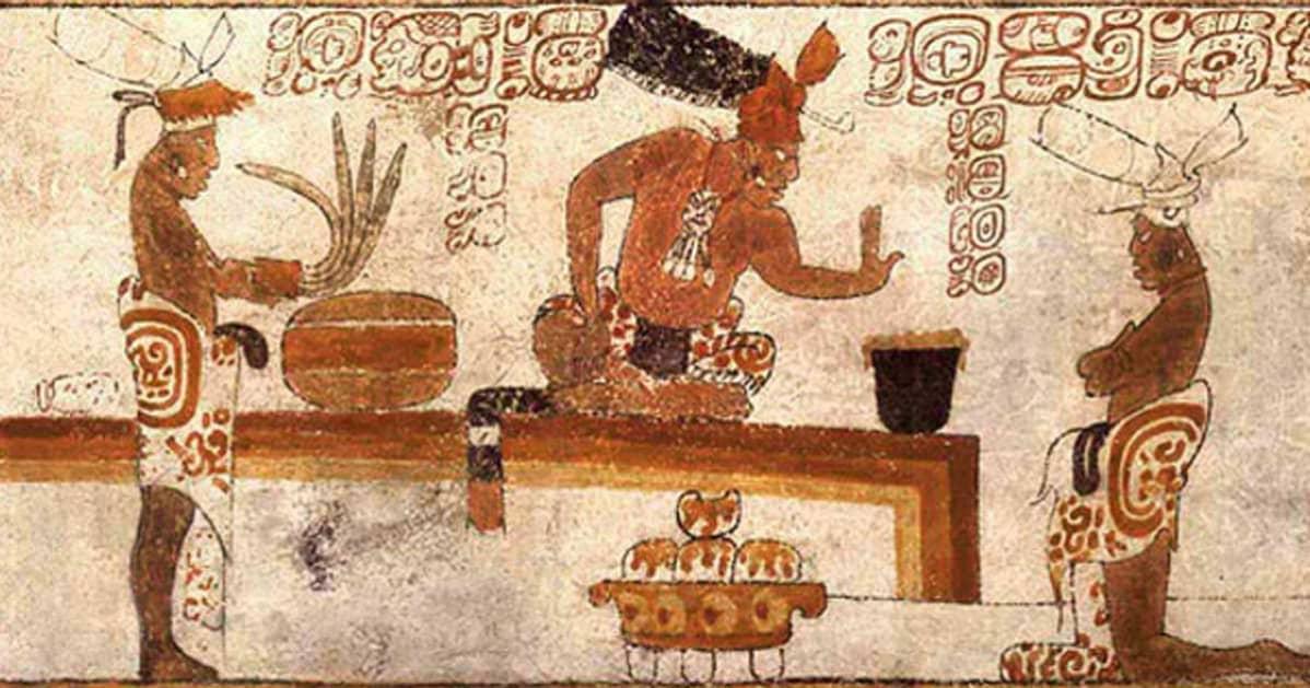 Maalaus penkillä risti-istunnassa olevasta päälliköstä kahden palvelijan välissä. Penkillä on astia, jonka ylle päällikkö ojentaa kättään.