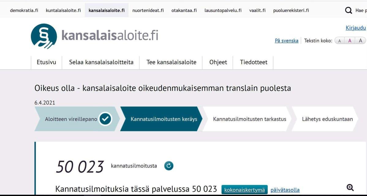 Sivukaappaus Kansalaisaloite.fi -sivustosta.