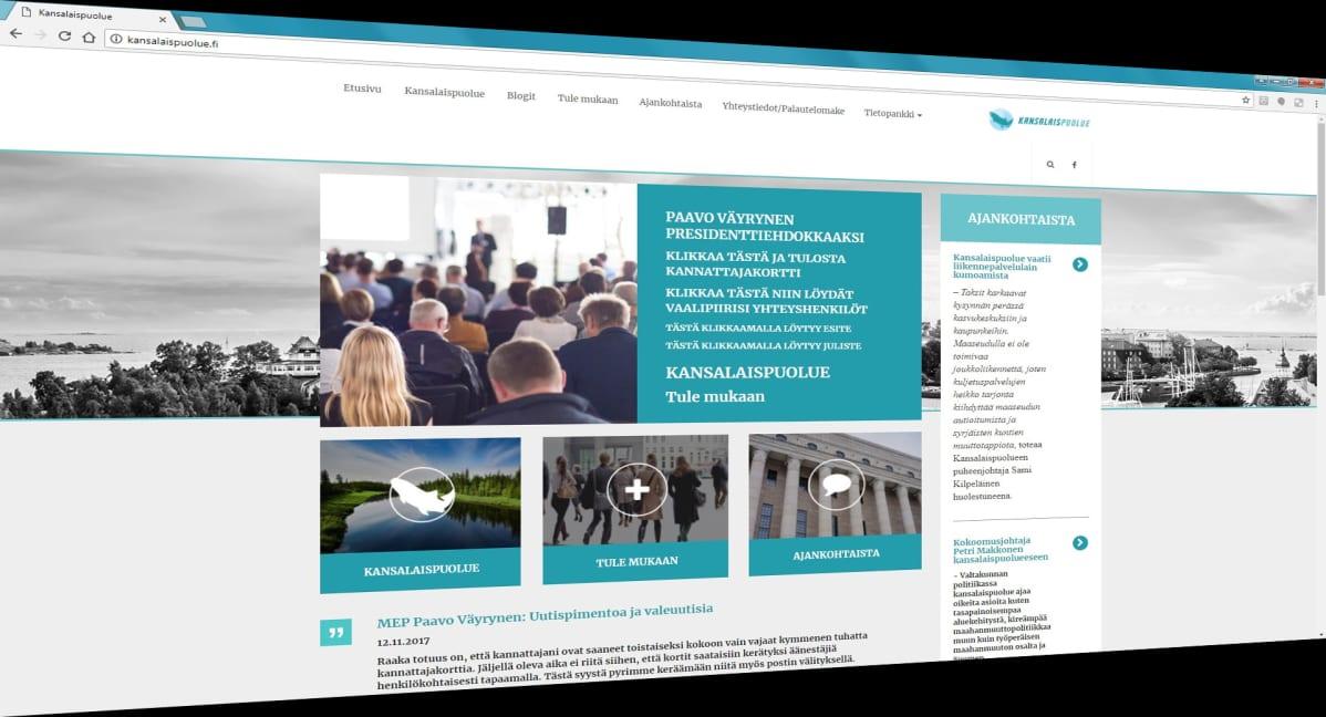 Kuvakaappaus kansalaispuolueen nettisivuston etusivusta.