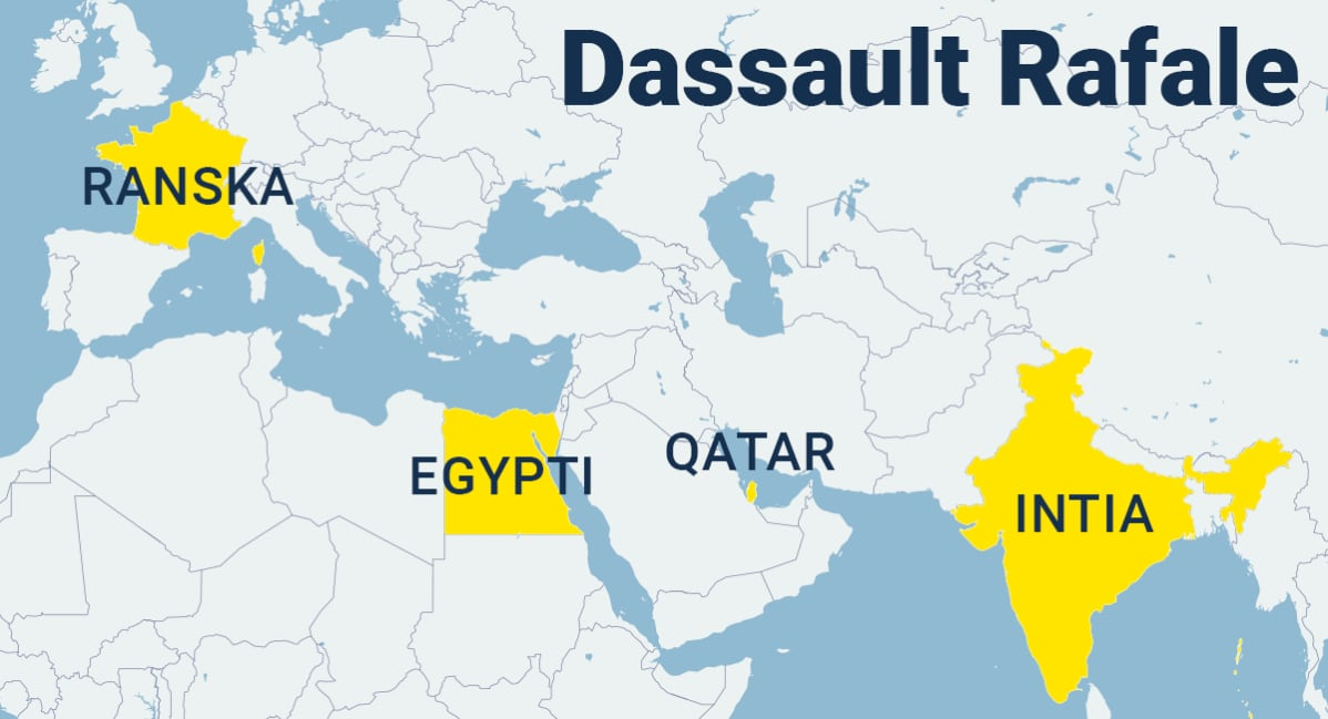 Ranska, Egypti, Qatar ja Intia merkittynä kartalle.