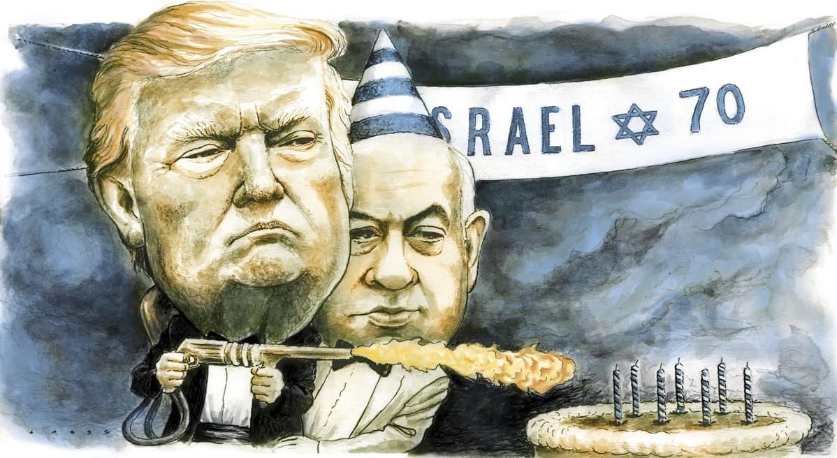 Kuvituskuva, jossa Trump ja Netanjahu.