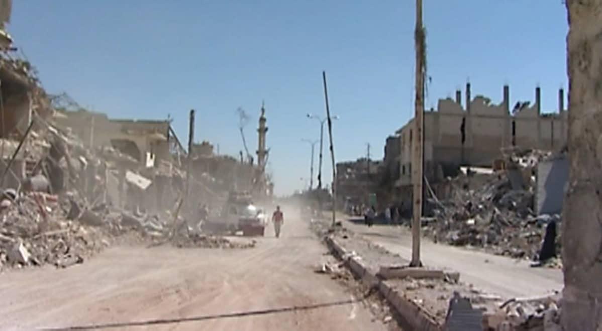 Katunäkymä Damaskoksessa tiistaina.