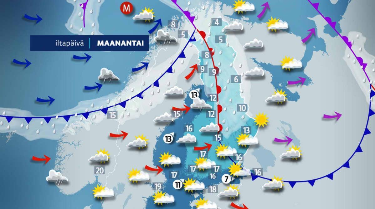 maanantain sääkartta