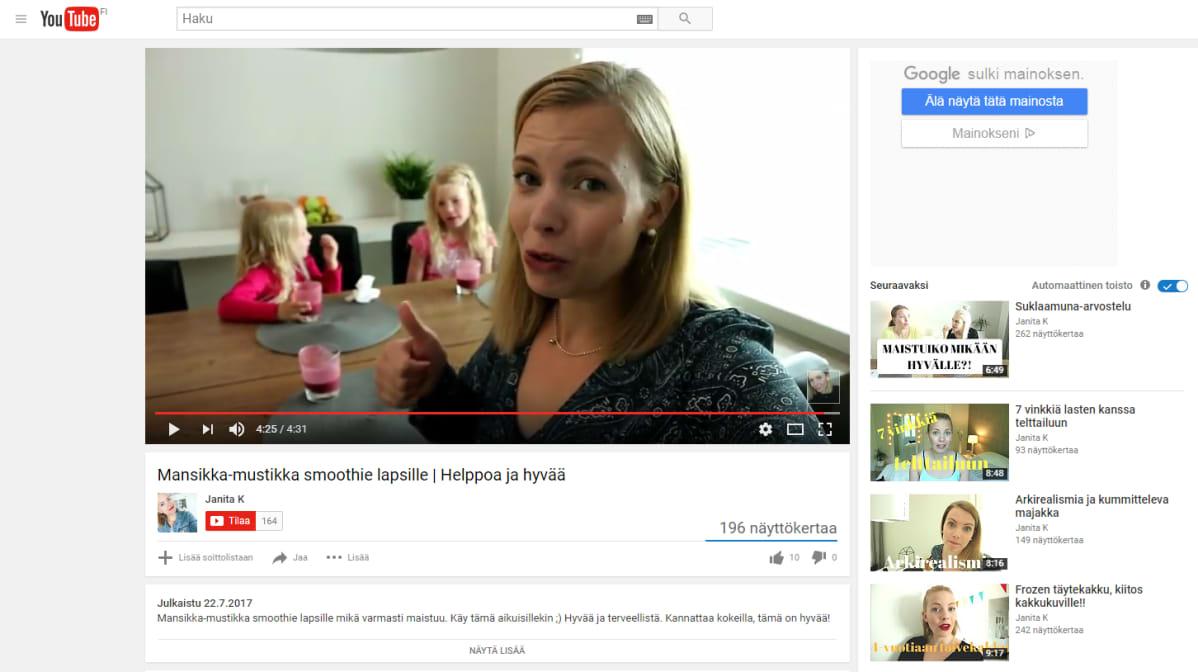 Kuvakaappaus Janita K:n tillltä Youtubesta.
