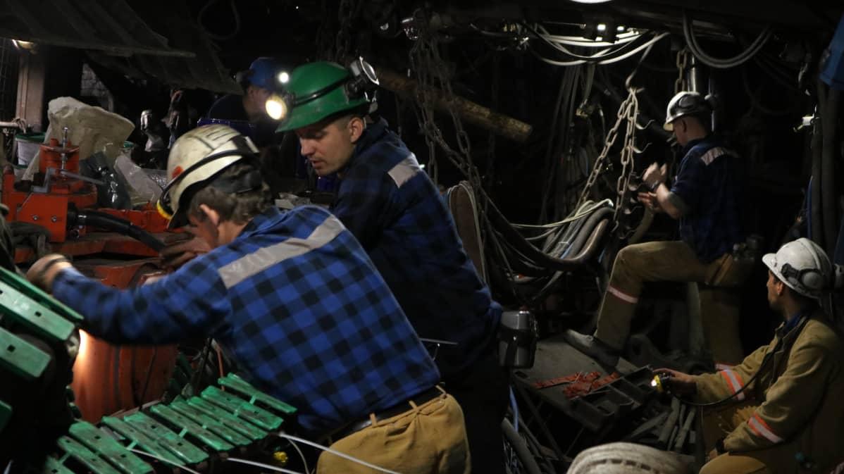 Kaivoskone on tuotu osina maan pinnalta esiintymän luokse.