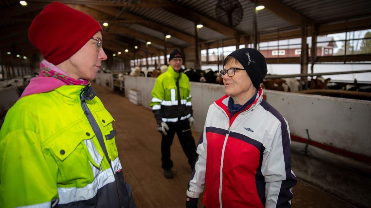 Päivi Anttila juttelee anoppinsa Marja Anttilan kanssa.