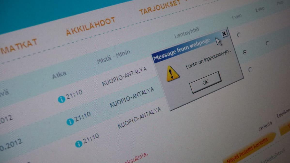 Kuopio-Antalya-lento syyslomaviikon maanantaina on nettivaraamon mukaan loppuunmyyty.