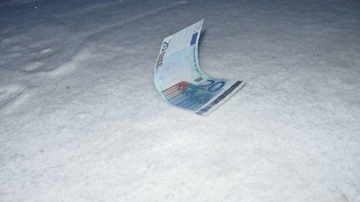 20 euron seteli maassa lumessa.
