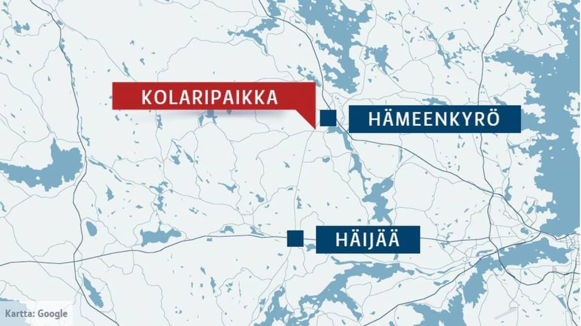 Kartta Hämeenkyrössä sattuneesta vakavasta liikenneonnettomuudesta