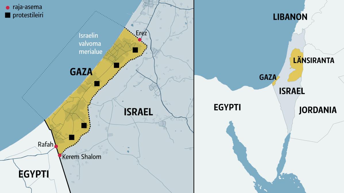 Kartta Gazan alueesesta.
