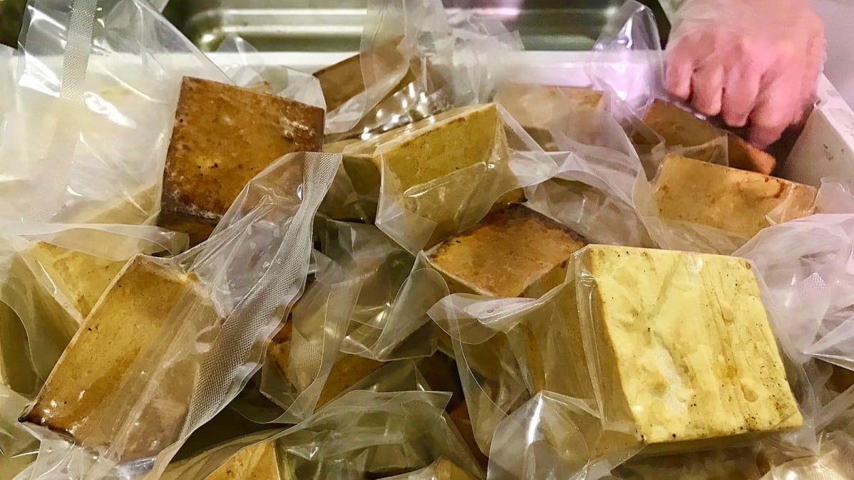 Tältä näyttää suomalaisittain harvinaisessa tofutehtaassa –