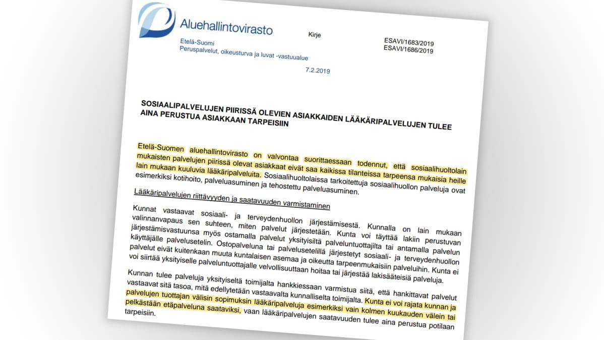 Aluehallintoviraston kirje.