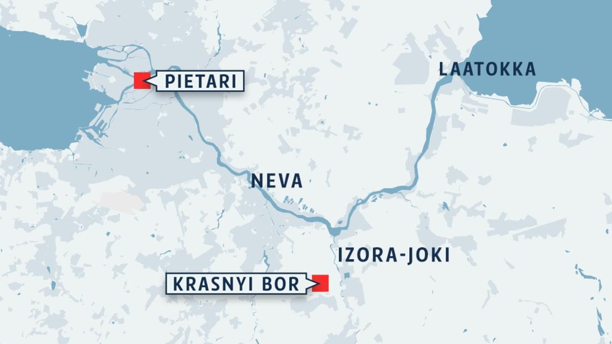 Pietarin alueen kartta
