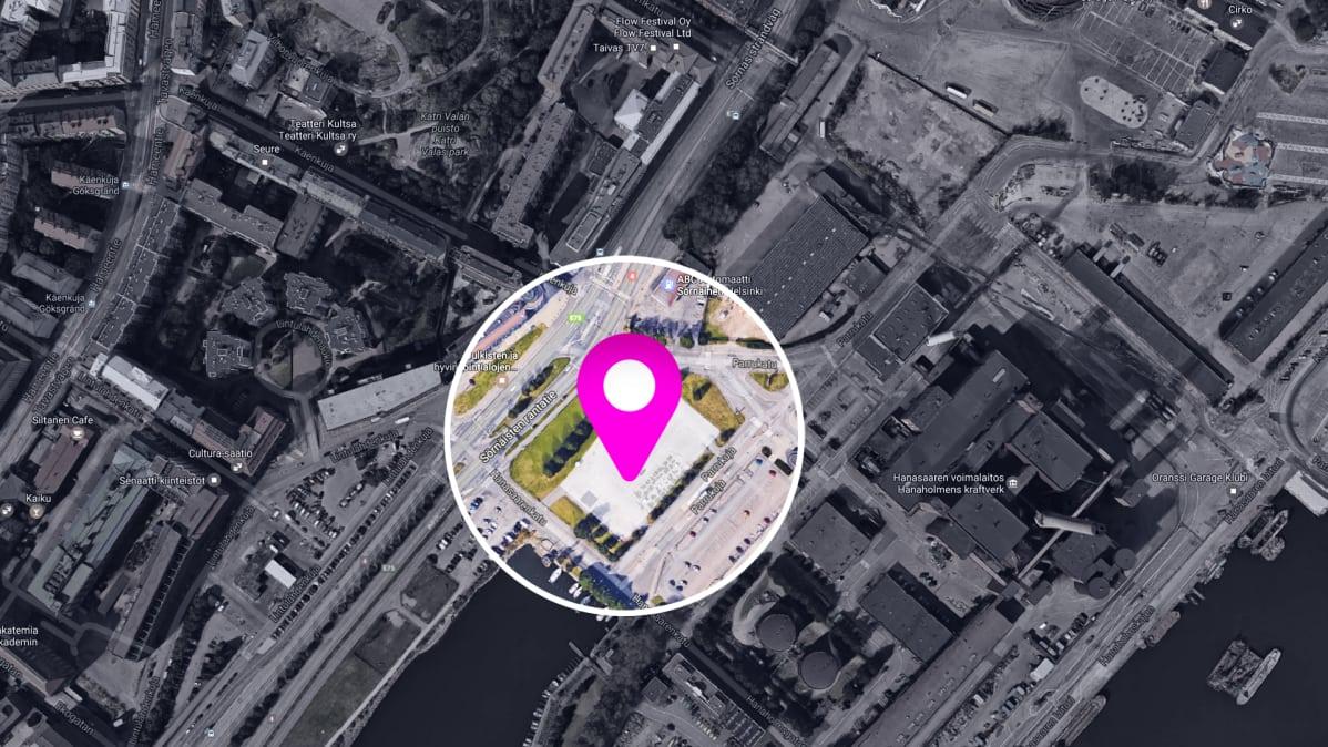Mahdollisen moskeijan sijäinti satelliittikuvassa