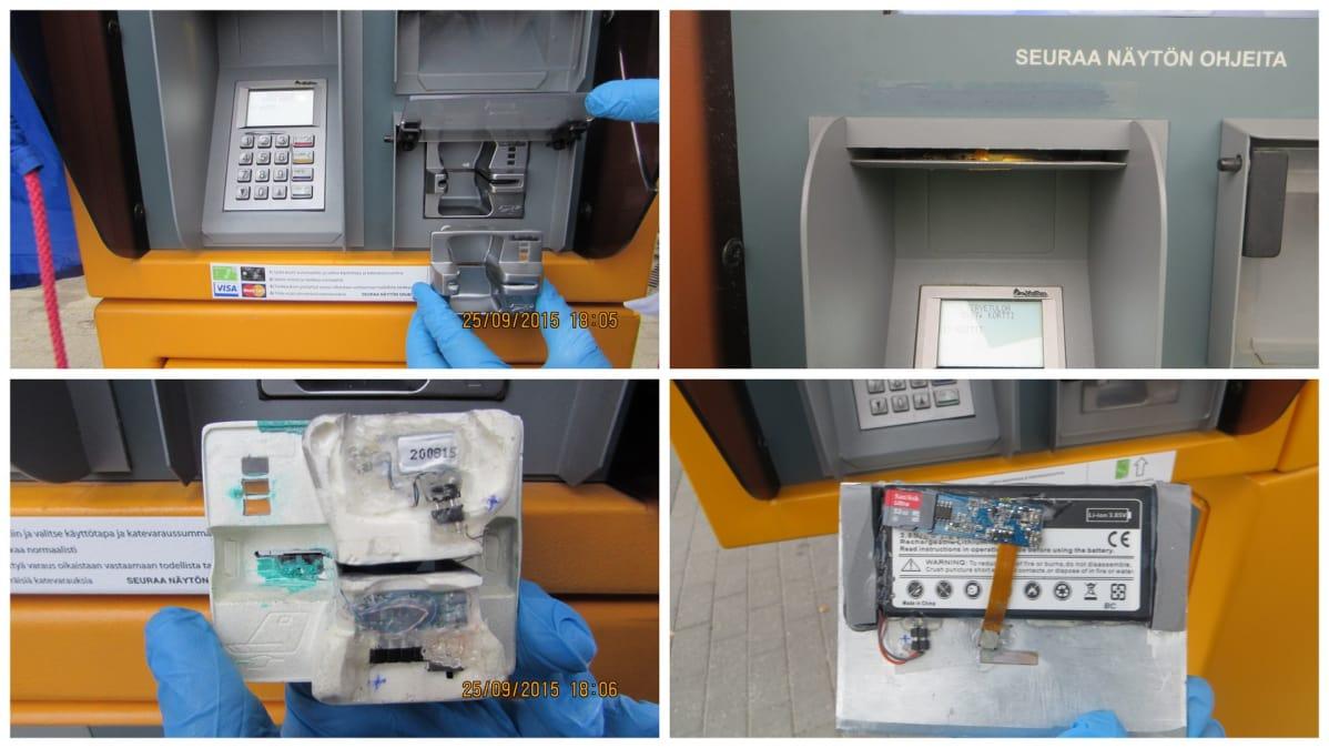 Skimmauslaitteen osia maksuautomaatista irrotettuna irrotettuna.