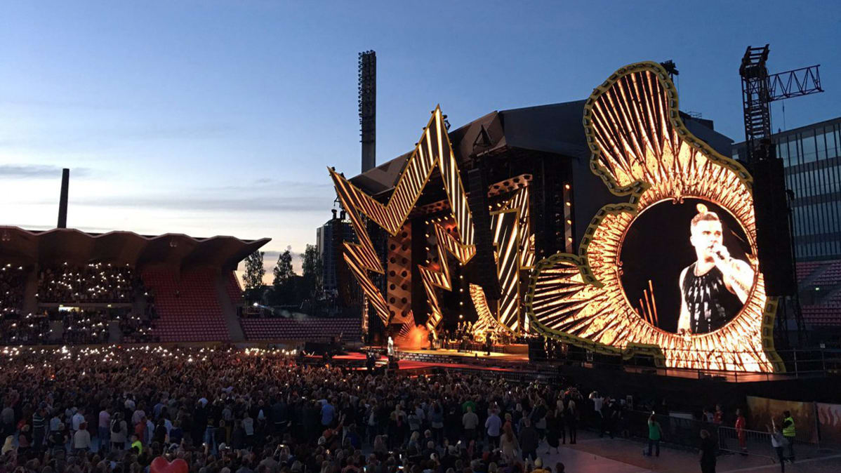Robbie Williams Tampereen Ratinassa.