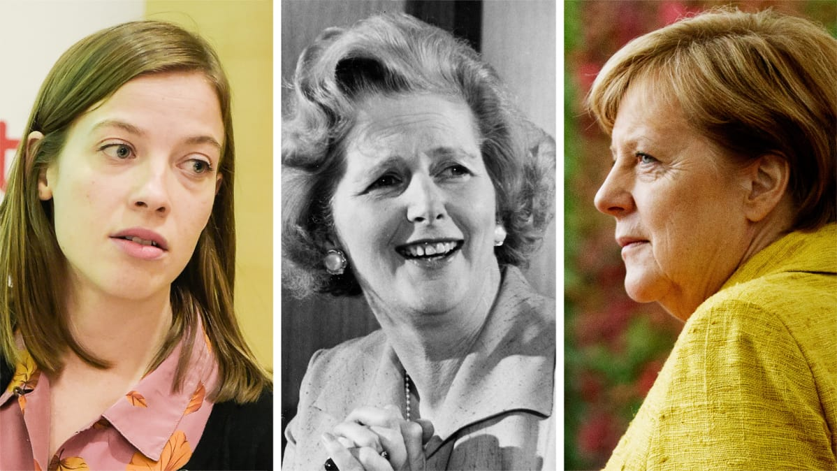 Li Andersson, Margaret Thatcher and Angela Merkel.