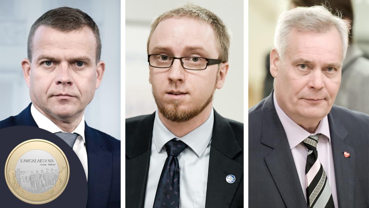 Petteri Orpo, Simon Elo ja Antti Rinne yhdistelmäkuvassa.