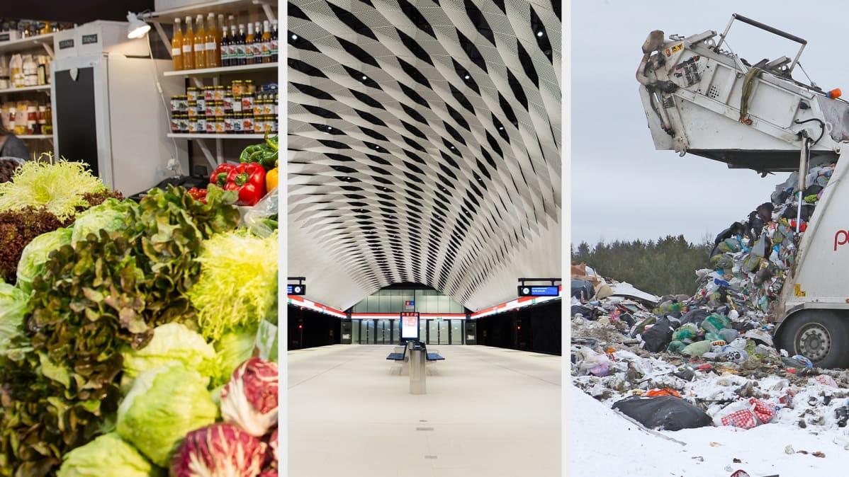Tuoretuotteita kaupan tiskillä, tyhjä metroasema ja jäteauto kaatopaikalla.