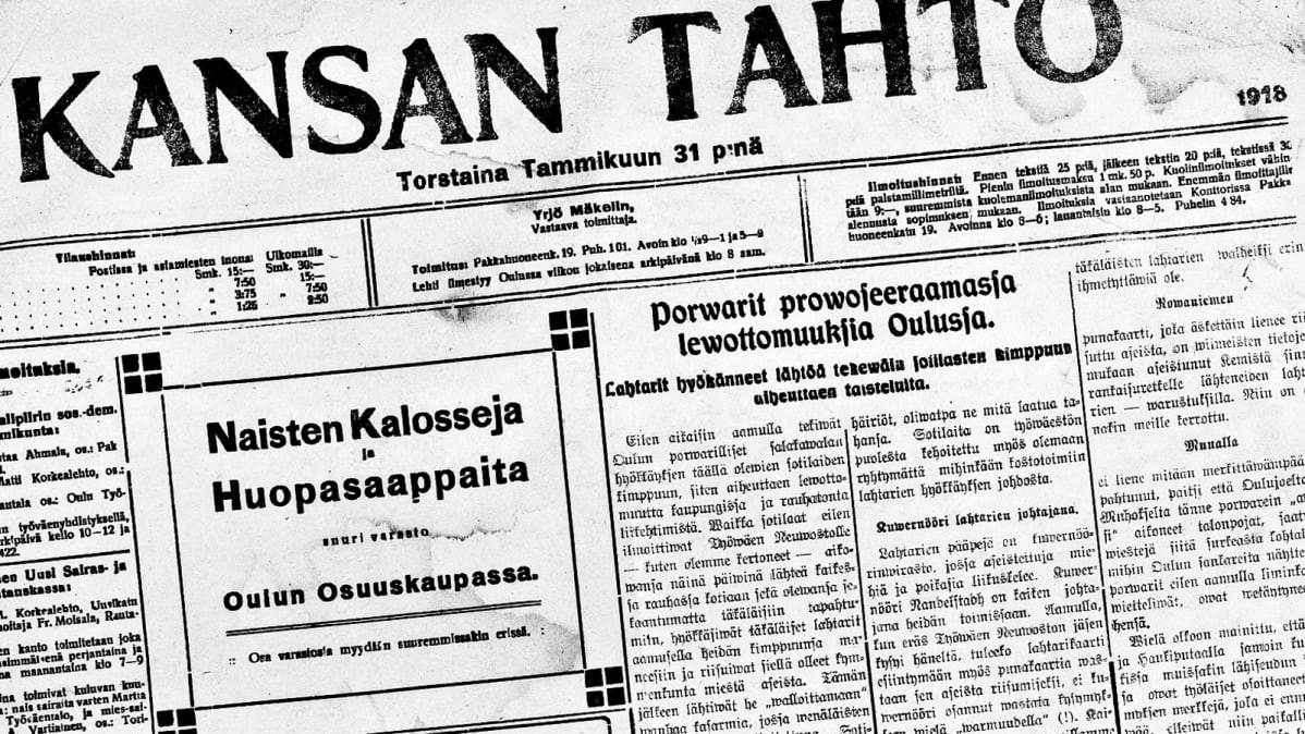 Kansan Tahdon etusivu ennen Oulun valtausta 31.tammikuuta 1918.