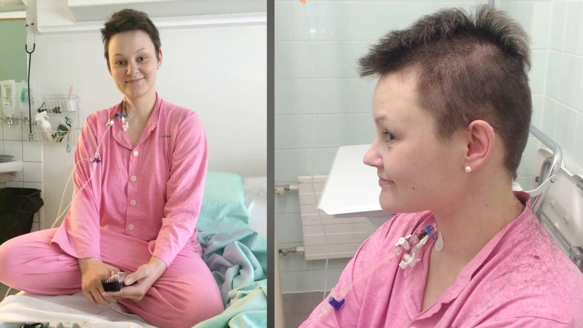 Hanna Pahlsten leikkaa hiuksensa sairaalassa.