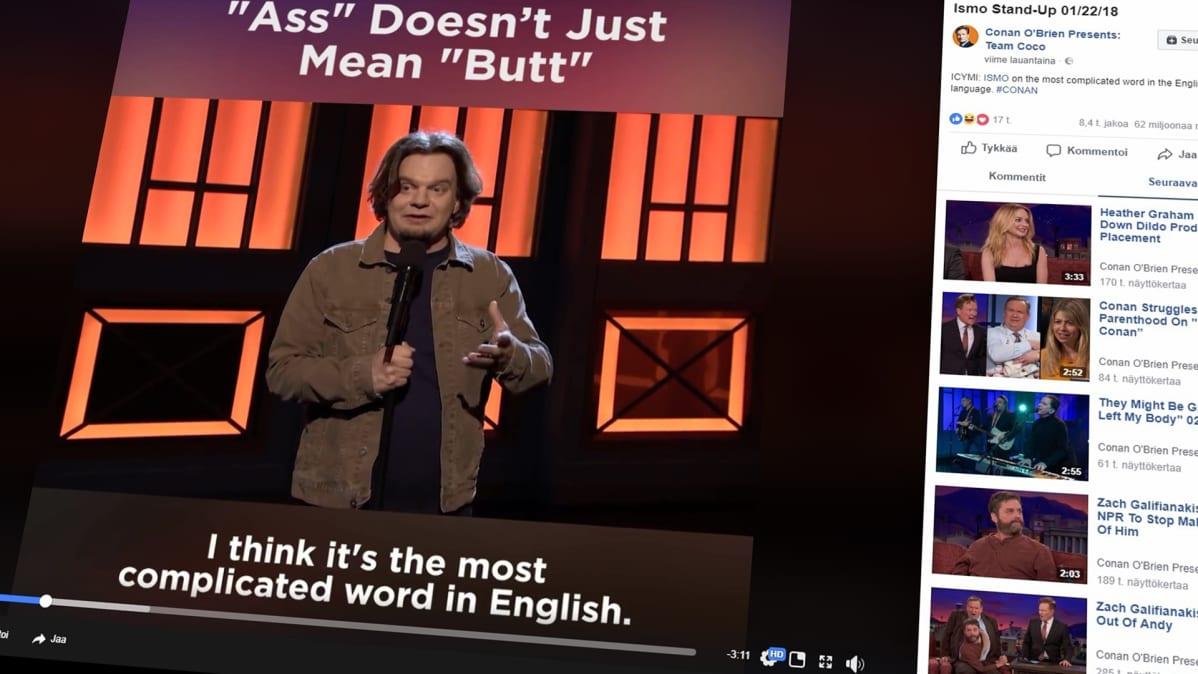 Ruutukaappaus nettivideosta, jossa koomikko Ismo Leikola esiintyy.