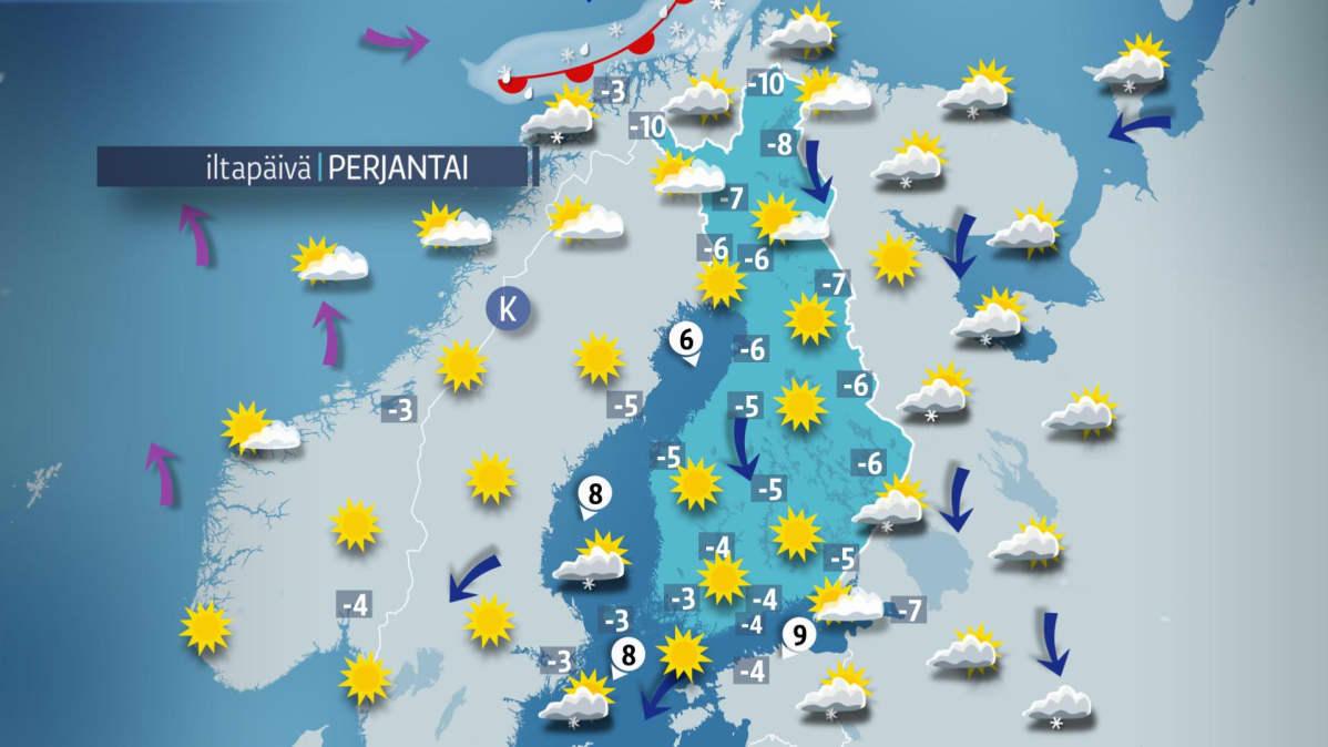 Päivän sääennuste perjantaille 16. maaliskuuta.
