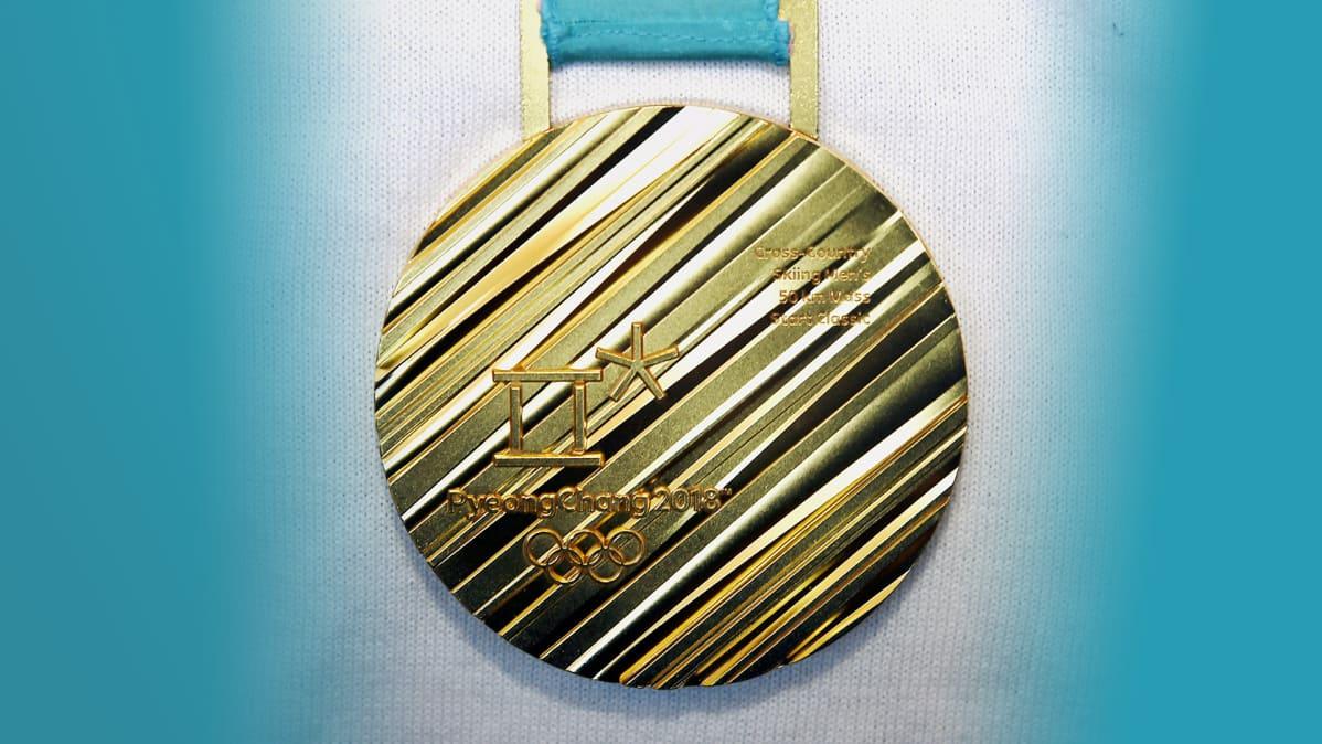 Iivo Niskasen kultamitali Pyeong Changin 50km hiihdosta.