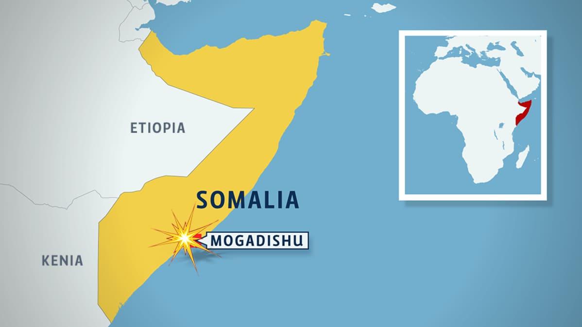 Somalian kartta, jossa näkyy pääkaupunki Mogadishun sijainti.