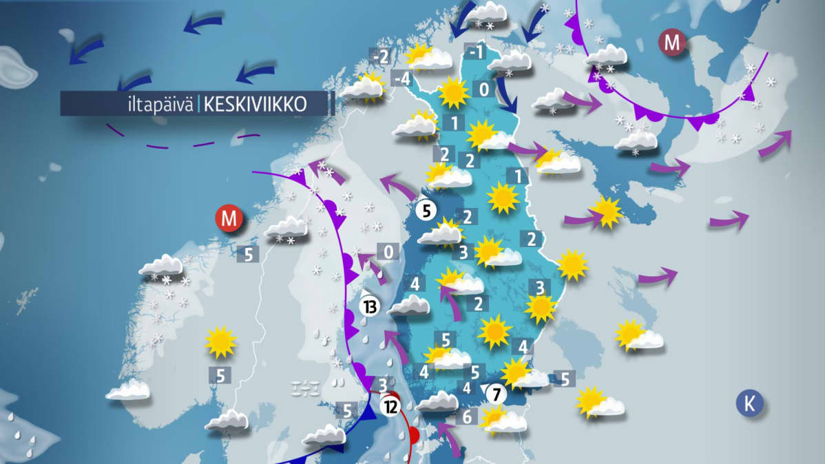 Iltapäivän sääkartta