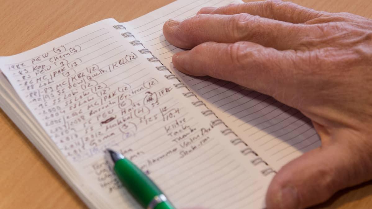 Sotakirurgi Jorma Salmela tarkastelee lokikirjakalentieriaan.