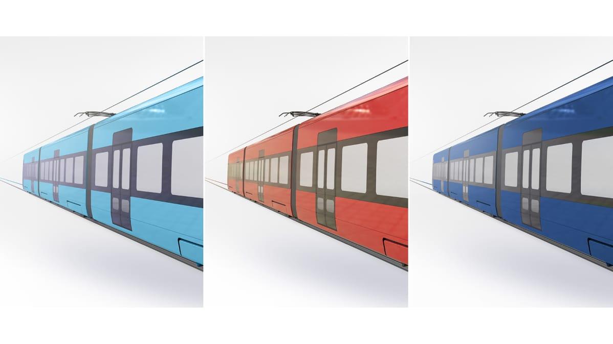 Tampereen raitiovaunun värivaihtoehdot