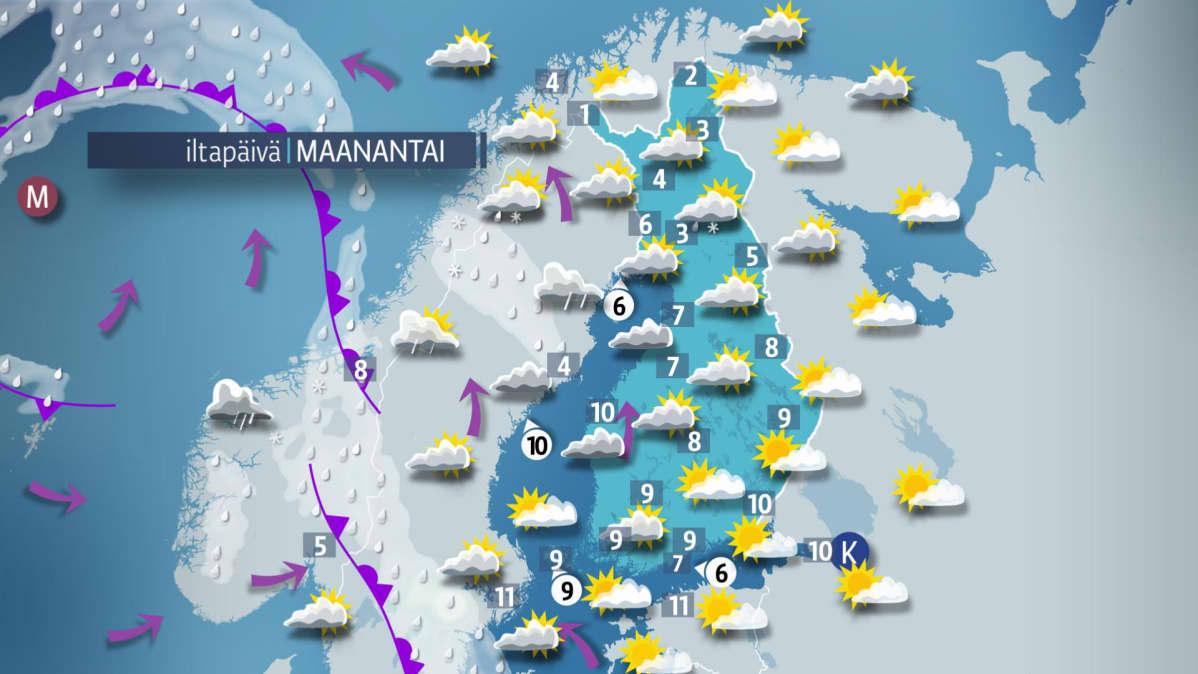 Sääennuste maanantaille 23. huhtikuuta.