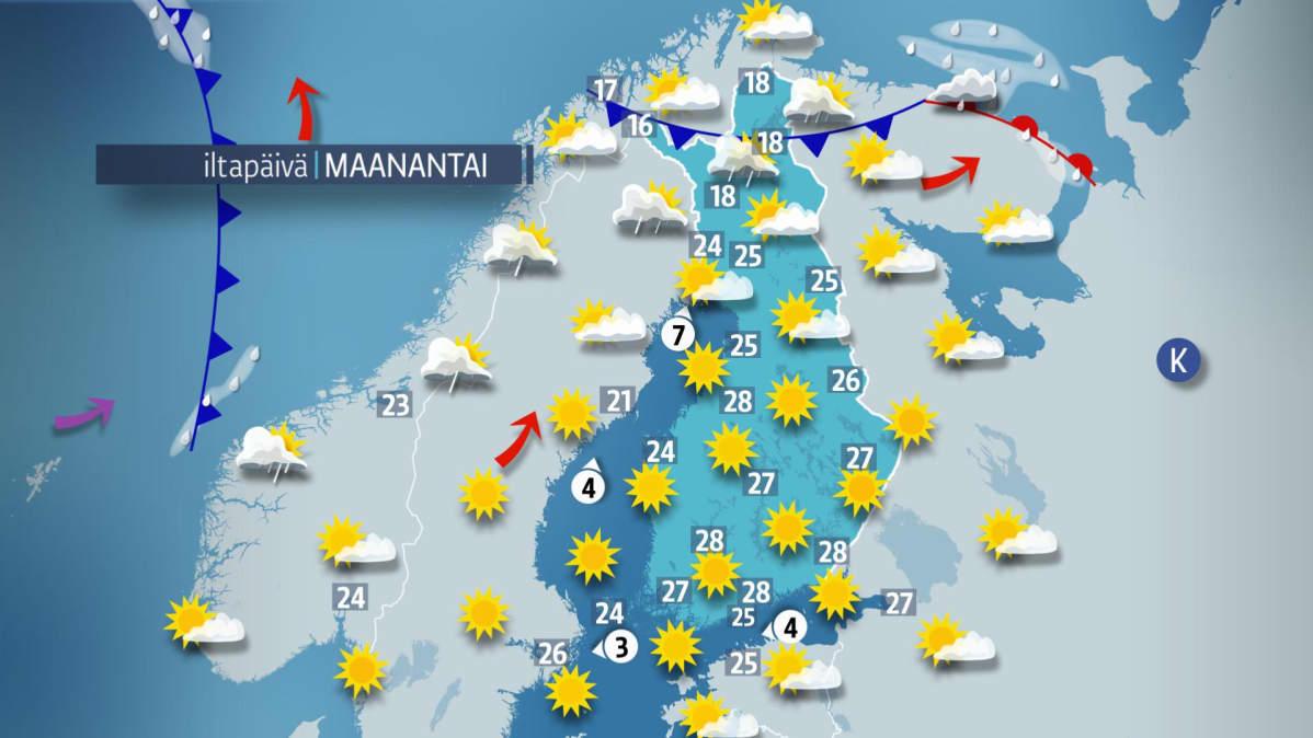 Maanantain sääkartta.